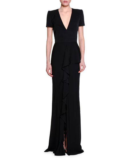 Alexander McQueen Short-Sleeve V-Neck Ruffle-Front Gown, Black