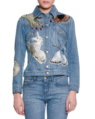 Sequin-Embroidered Denim Jacket