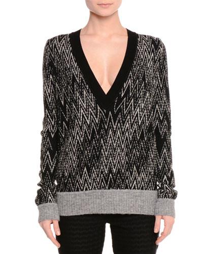 Zigzag Knit V-Neck Pullover, Black/White