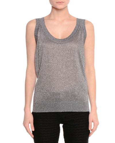 Metallic Knit Scoop-Neck Tank, Gray