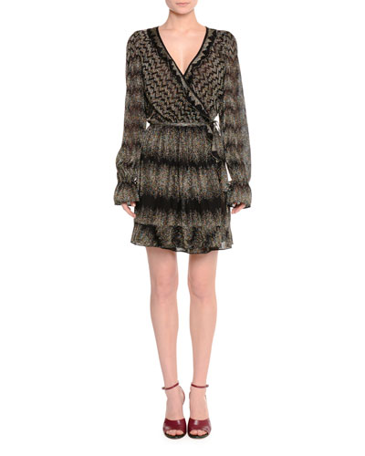 Long-Sleeve Wrap-Front Dress, Black Metallic