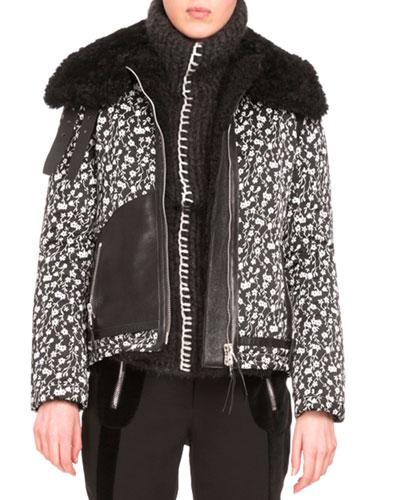 Floral Jacquard Coat w/Shearling Fur Collar, Black/White
