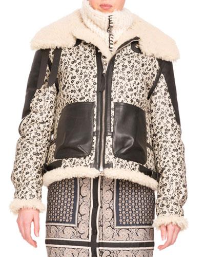 Shearling Fur-Lined Floral-Print Coat, Black/White