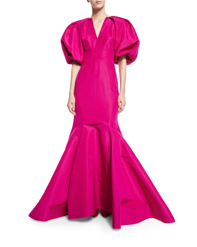 Puffed-Sleeve Silk Faille Trumpet Gown, Magenta