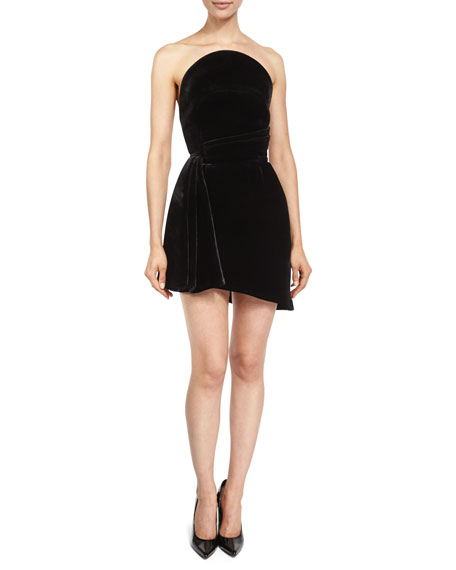 Brandon Maxwell Strapless Velvet Cocktail Dress, Black
