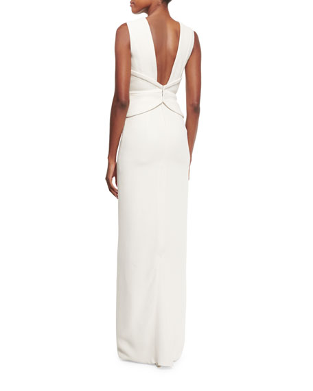 Plunging Corset Silk Crepe Gown, Ivory
