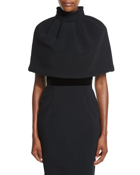 Pleated Mock-Neck Capelet, Black