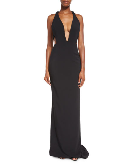 Sleeveless Plunging Crepe Gown, Black
