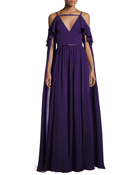 Long-Sleeve Cold-Shoulder Strappy Gown, Purple