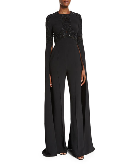 Elie Saab Beaded Bell-Sleeve Flared Jumpsuit, Black