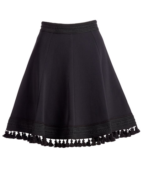 Tassel-Trimmed A-Line Skirt, Black