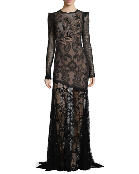 Long-Sleeve Asymmetric Floral Lace Gown, Black