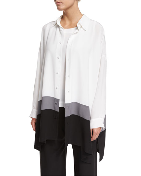Colorblock A-Line Silk Top, White