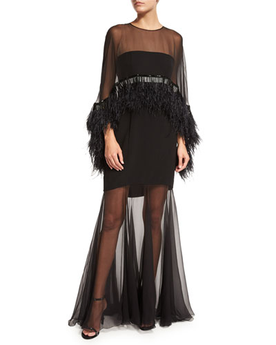 Illusion Cape Gown w/Ostrich Feathers, Black