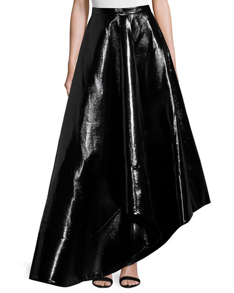 Rosie Assoulin Zorro Faux-Leather Skirt, Black