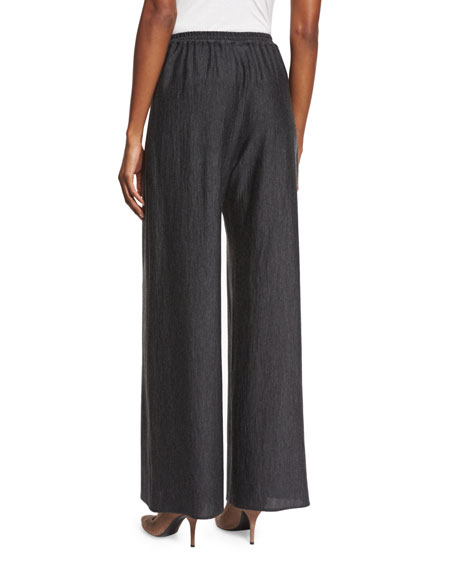 Flat-Front Flared Trousers, Charcoal