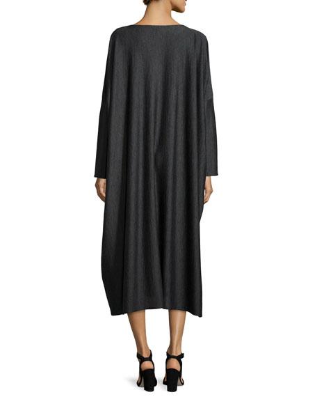 Long-Sleeve Wool-Blend Dress, Charcoal
