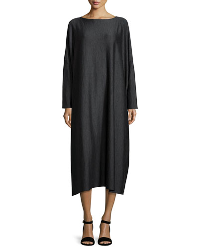 Long-Sleeve Wool-Blend Dress, Charcoal