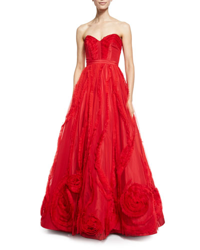 Strapless Tulle Corset Gown, Red