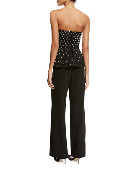 Beaded Strapless Peplum Jumpsuit, Black (Noir)