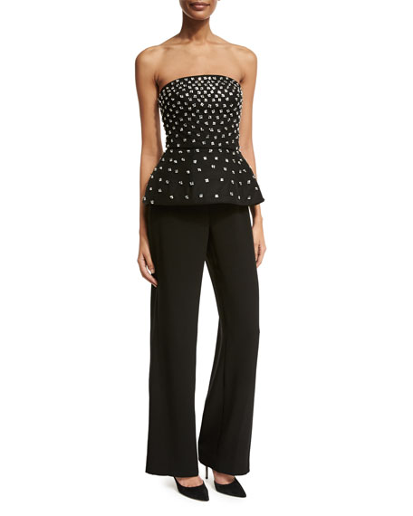 Monique Lhuillier Beaded Strapless Peplum Jumpsuit, Black (Noir)