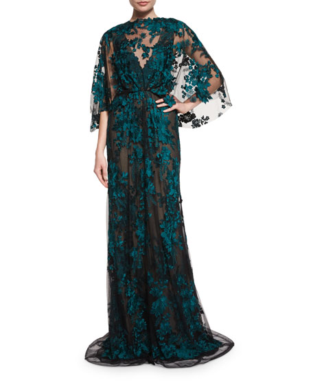 Embroidered Capelet Illusion Gown, Black/Forest Green