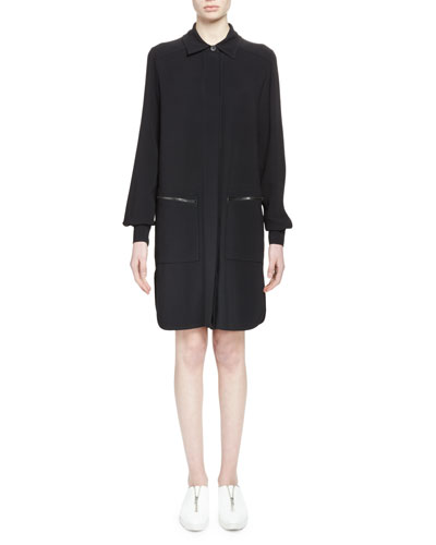 Long-Sleeve Shift Shirtdress, Black