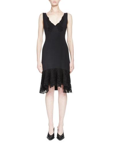 Sleeveless V-Neck Lace-Hem Dress, Black