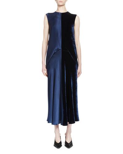 Sleeveless Satin & Velvet Combo Midi Dress, Navy