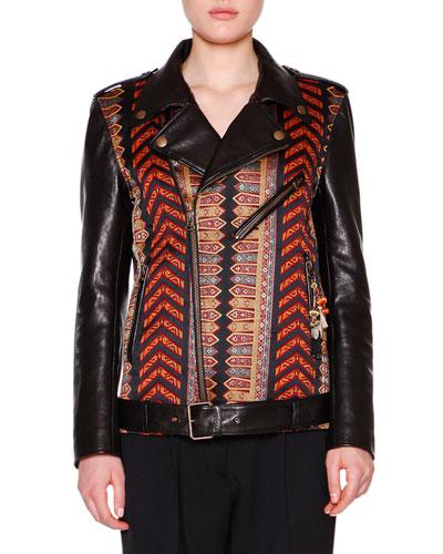 Leather Moto Jacket w/Brocade Panels, Red/Black/Gold