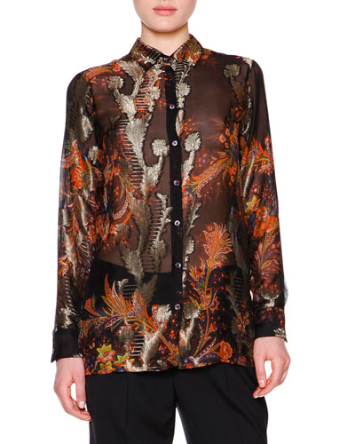 Floral Paisley Fil Coupe Blouse, Black/Red