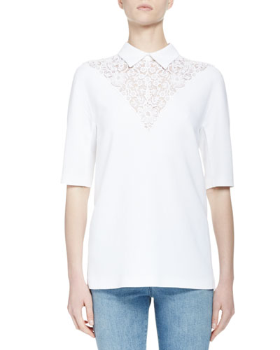 Half-Sleeve Lace-Yoke Top, White