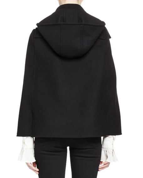 Short Wool-Blend Cape w/Hood, Black