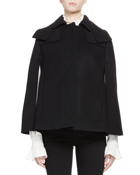 Short Wool-Blend Cape w/Hood, Black