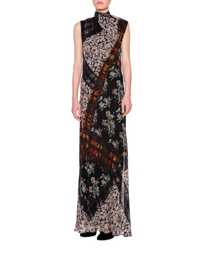 Floral Plaid Tie-Neck Scoop-Back Gown, Black