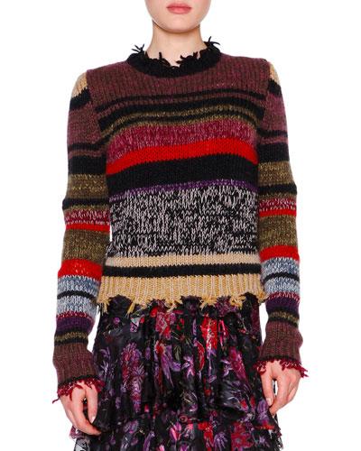 Long-Sleeve Raw-Edge Striped Sweater, Violet/Multi
