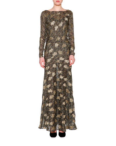 Metallic Paisley Lace V-Back Gown, Black/Gold