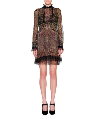Long-Sleeve Pebble Paisley Dress, Multi