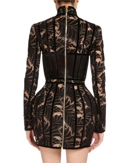 Long-Sleeve Devoré Velvet Dress, Black