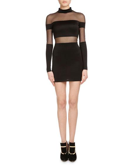 c1904cd2 Balmain Mock-Neck Sheer-Striped Mini Dress, Black