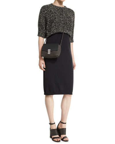 Knit Dress w/Tweed Sweater Overlay, Anthracite