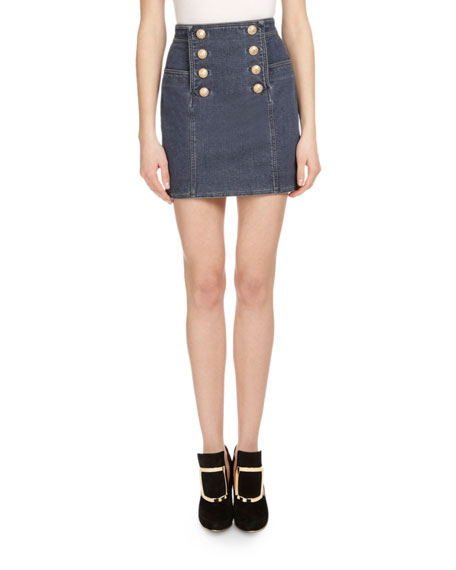 Button-Front Denim Mini Skirt, Blue