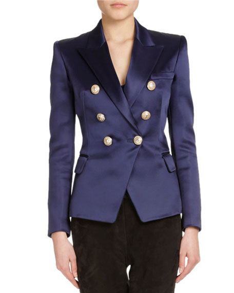 Double-Breasted Satin Blazer, Navy
