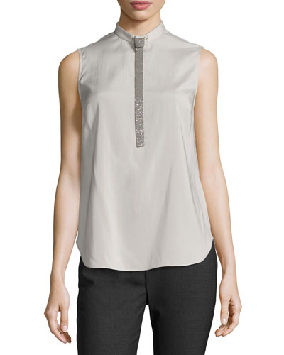 Sleeveless Top w/Monili Tie, Sea Salt