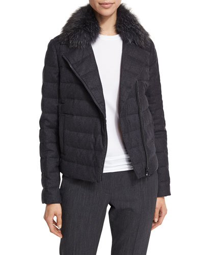 Quilted Flannel Coat w/Fur Collar, Volcano