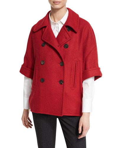 Half-Sleeve Wool-Blend Jacket, Poppy