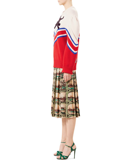 Postcard-Print Silk Crepe de Chine Skirt, Almond
