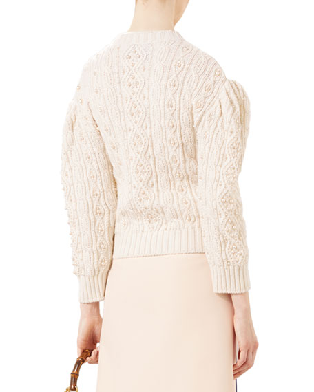 Embroidered Wool-Cashmere Top, Natural White
