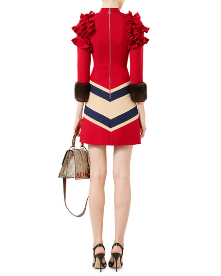 e9c36b2055 Gucci Embroidered Wool-Silk Dress