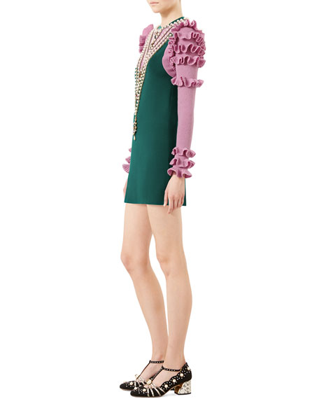 Embroidered Wool Dress, Bright Green/Rose